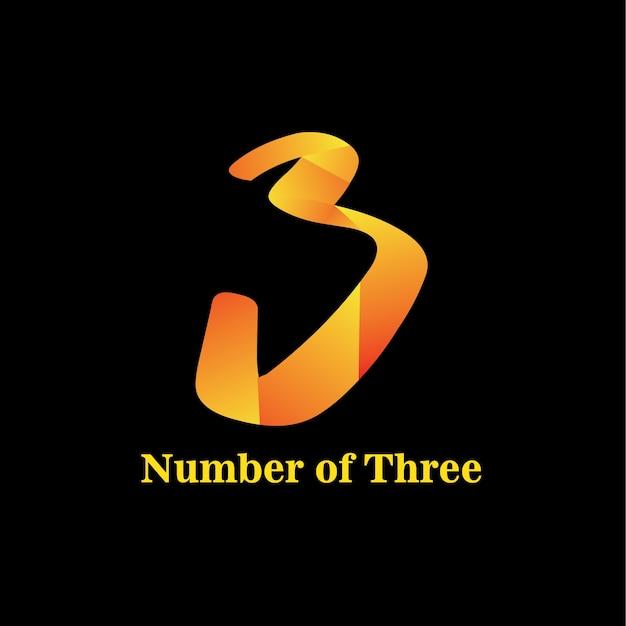 Anzahl der drei Logo Template Design | Download der Premium Vektor