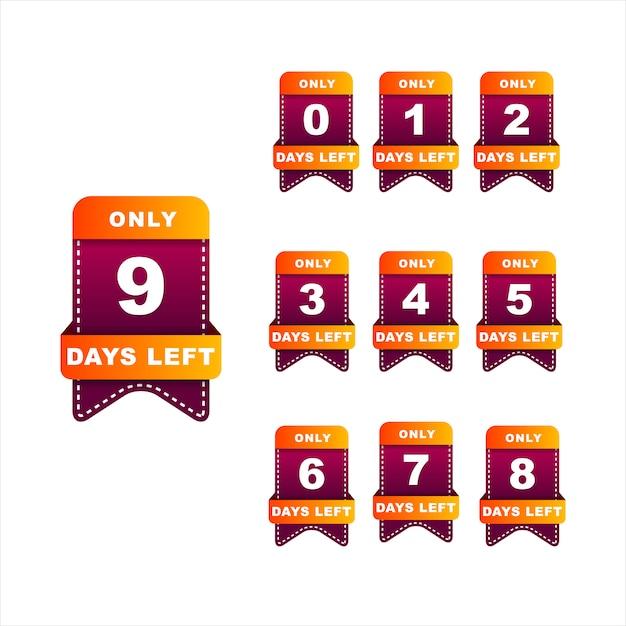 Anzahl der tage, die das abzeichen für den verkauf oder die promotion übrig bleibt. orange und dunkelrote farben Premium Vektoren