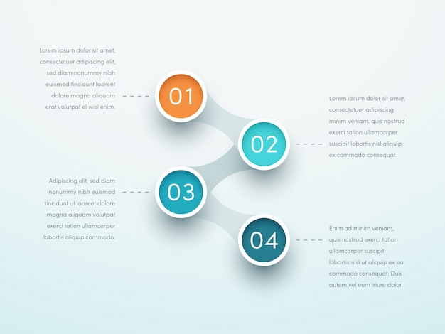 Anzahl schritte vier kreis verknüpfte infografik Premium Vektoren