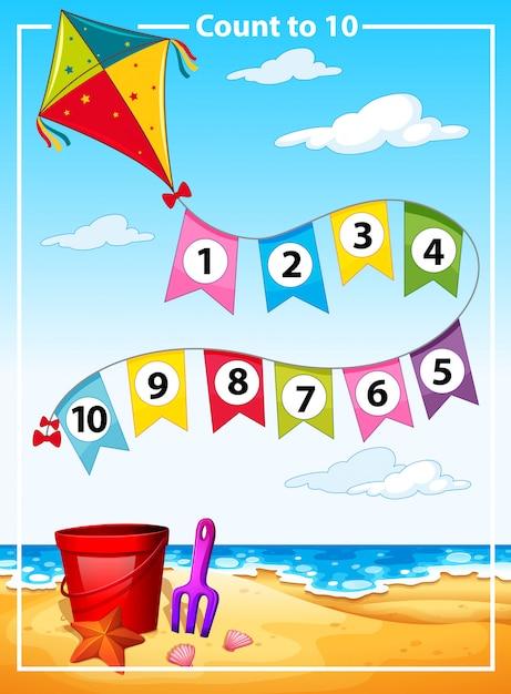 Anzahl sommer strandvorlage zählen Kostenlosen Vektoren