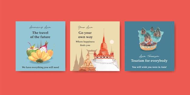 Anzeigenschablone mit asien-reisekonzeptentwurf für marketing und werbung aquarellvektorillustration Kostenlosen Vektoren