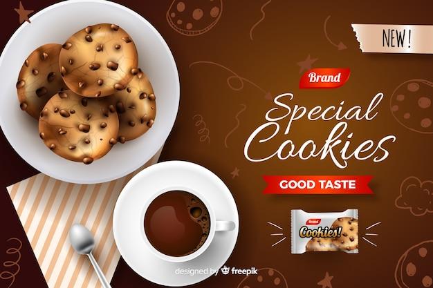 Anzeigenvorlage für cookies mit kritzeleien Kostenlosen Vektoren