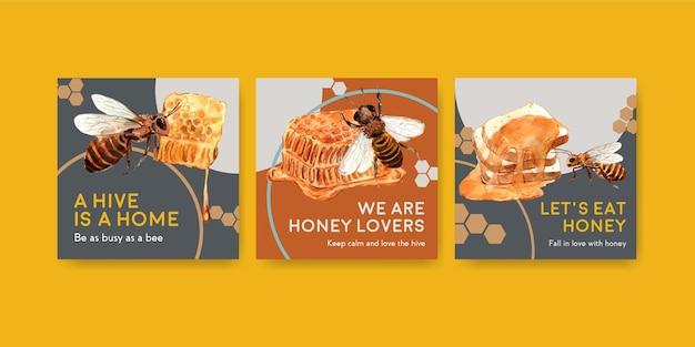 Anzeigenvorlage mit honig für marketing und werbung für aquarell Kostenlosen Vektoren