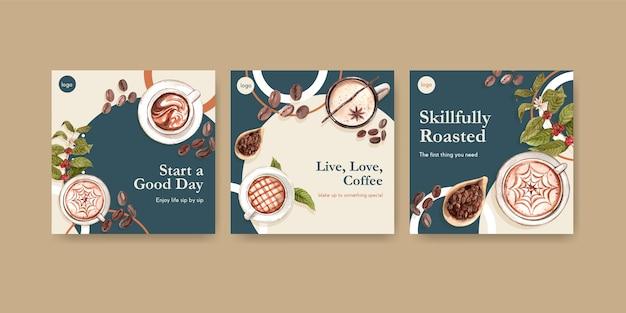 Anzeigenvorlage mit internationalem kaffeetag-konzeptentwurf für werbung und vermarktung von aquarell Kostenlosen Vektoren