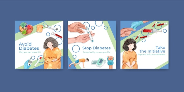 Anzeigenvorlage mit weltdiabetestag für die vermarktung von aquarell Kostenlosen Vektoren