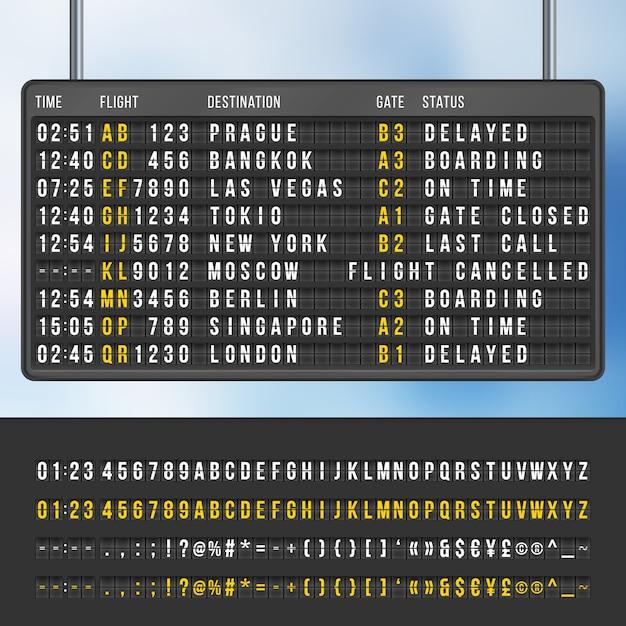 Anzeigetafel für informationen zur ankunft von flughäfen Premium Vektoren