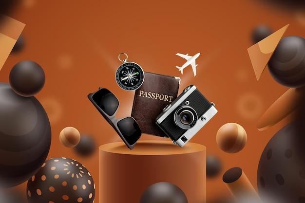 Anzeigevorlage mit reiseutensilien Premium Vektoren