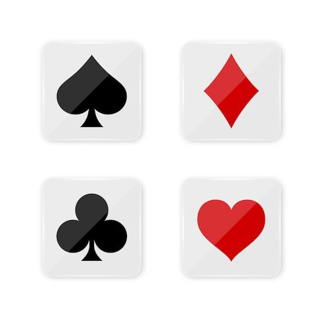 Anzug kartenspiel auf quadratischen knöpfen. Premium Vektoren