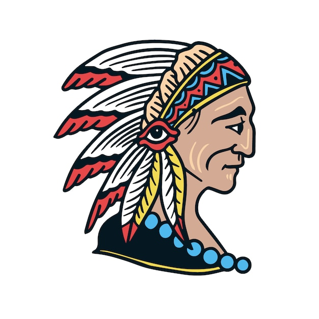 Apache warrior old school tattoo Premium Vektoren