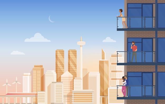 Apartment balkon mit blick auf die stadt mit menschen paare entspannen Premium Vektoren