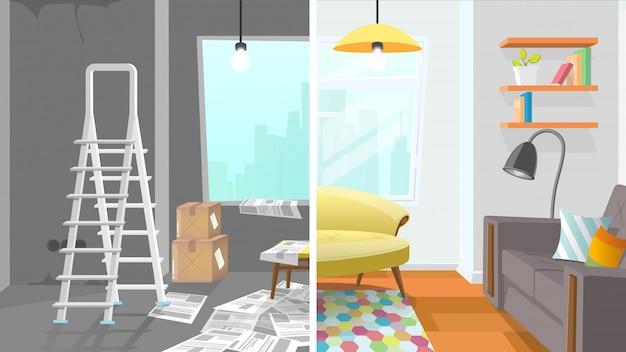 Apartment zimmer reparatur cartoon konzept Premium Vektoren
