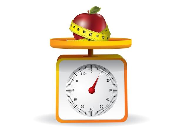 Apfel auf küchenlebensmittelskala auf weißem hintergrund Premium Vektoren