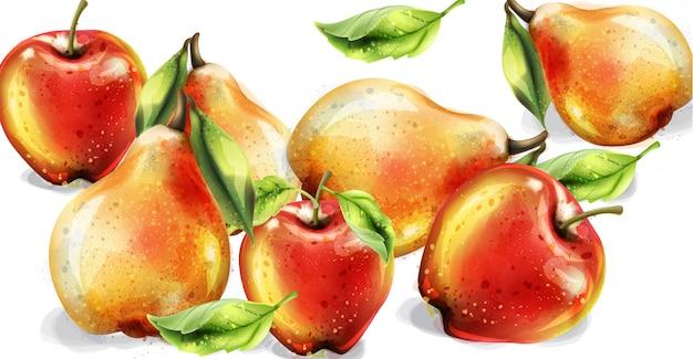 Apfel-, birnen- und pfirsichaquarellsatz Premium Vektoren