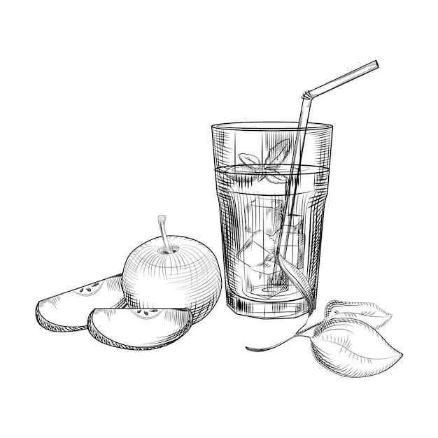 Apfel-fruchtsaft-skizze. Premium Vektoren