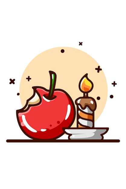 Apfel- und kerzenillustration Premium Vektoren