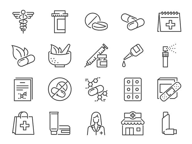 Apotheke-icon-set Premium Vektoren