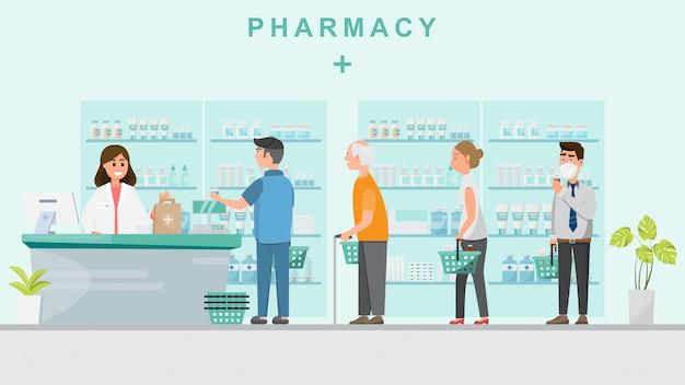 Apotheke mit apotheker in der theke Premium Vektoren