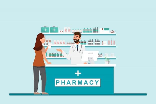 Apotheke mit apotheker und kunde in der theke Premium Vektoren