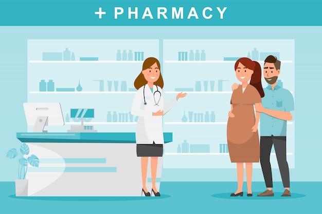 Apotheke mit apotheker und paarkunden im zähler. Premium Vektoren