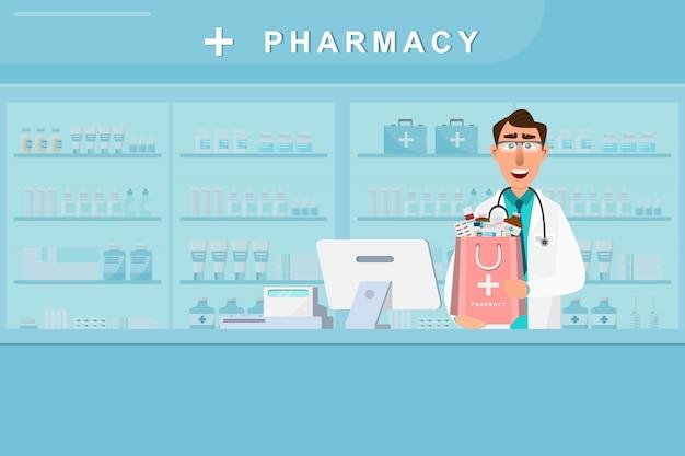 Apotheke mit arzt und krankenschwester in der theke Premium Vektoren