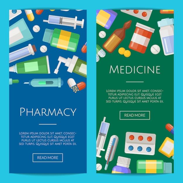 Apotheke oder medikamente vertikale banner poster vorlagen sammlung Premium Vektoren
