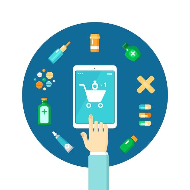 Apotheke online-zusammensetzung Kostenlosen Vektoren