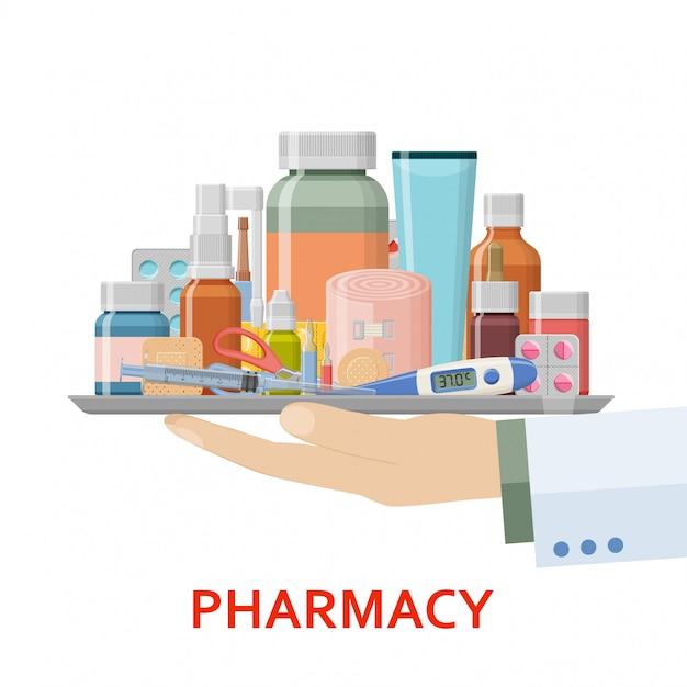 Apothekenhintergrund. verschiedene medizinische pillen, pflaster, thermometer, spritze und flaschen in arzthand. illustration Premium Vektoren