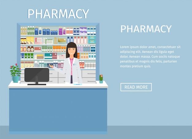 Apothekeninnenweb-fahnendesign mit weiblicher figur des apothekers am zähler. drogerie interieur mit vitrinen Premium Vektoren