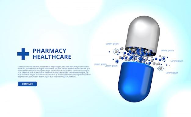 Apothekenpillen kapsel medizin gesundheitswesen Premium Vektoren