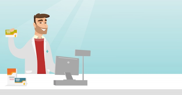 Apotheker, der etwas medizin zeigt. Premium Vektoren