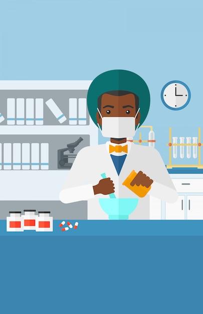 Apotheker, der medizin vorbereitet. Premium Vektoren