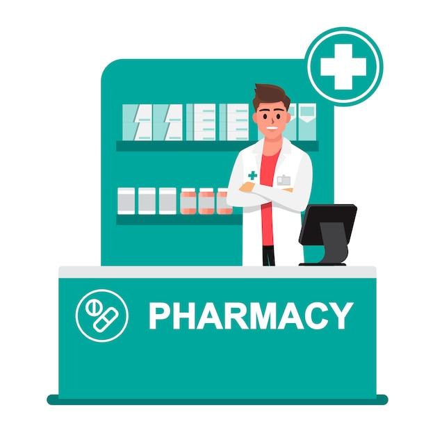 Apotheker, drogerie, apotheker geben ratschläge zum drogenkonsum Premium Vektoren