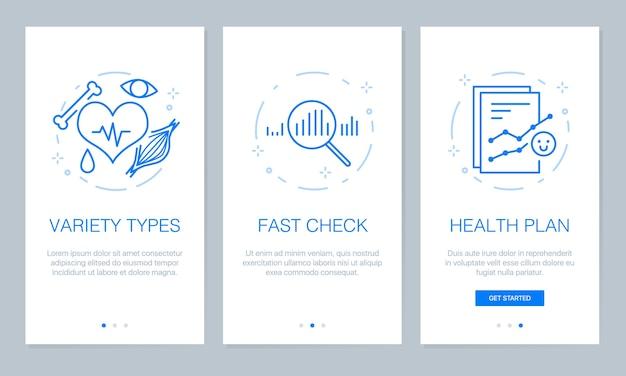 App-bildschirme für gesundheit und medizinische onboarding. Premium Vektoren