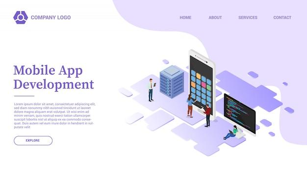 App-entwicklung mit handy-smartphone-website-vorlage oder landing homepage mit isometrischen stil Premium Vektoren
