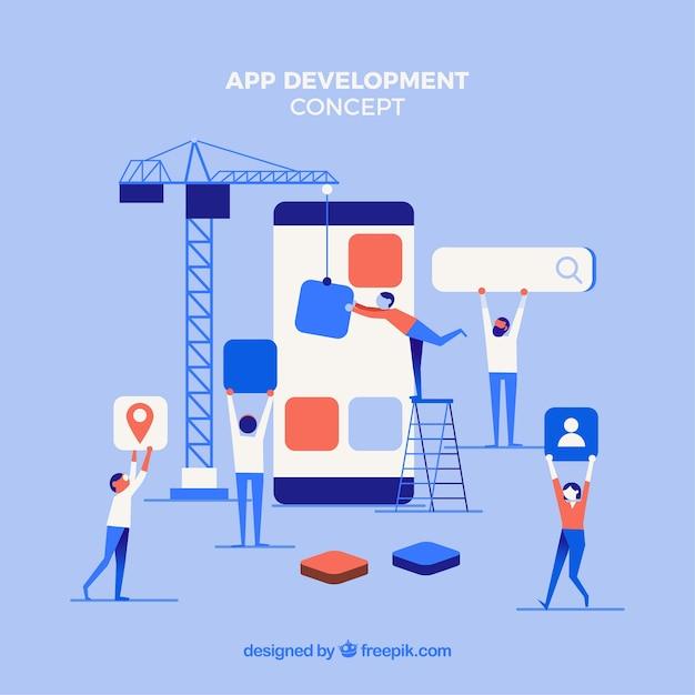 App-entwicklungskonzept mit flachem design Kostenlosen Vektoren