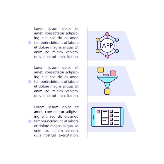 App marketing trichter konzept symbol mit text Premium Vektoren