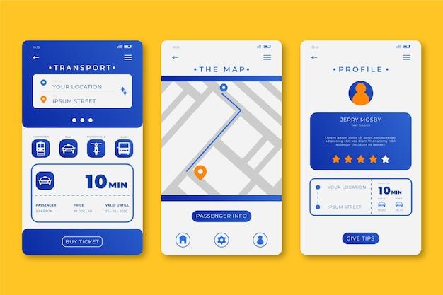 App-oberfläche für öffentliche verkehrsmittel Kostenlosen Vektoren