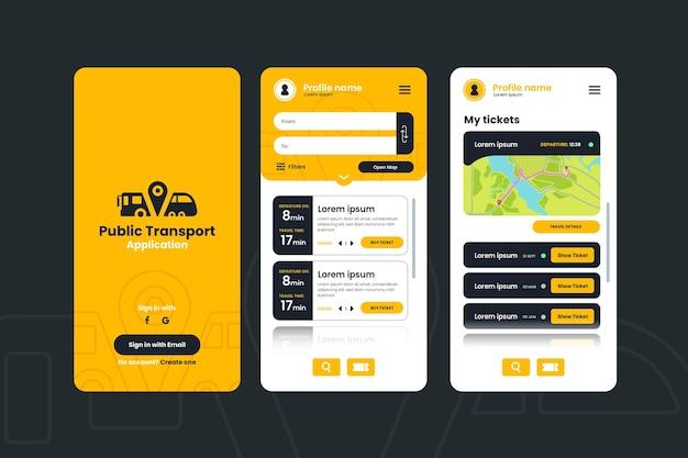 App-oberfläche für öffentliche verkehrsmittel Premium Vektoren