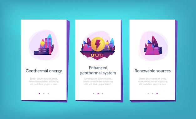 App-schnittstellenvorlage für geothermie. Premium Vektoren