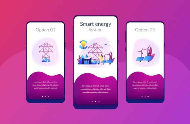 App-schnittstellenvorlage für nachhaltige energie. Premium Vektoren