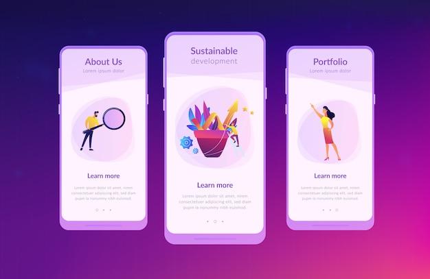 App-schnittstellenvorlage für unternehmenswachstum Premium Vektoren