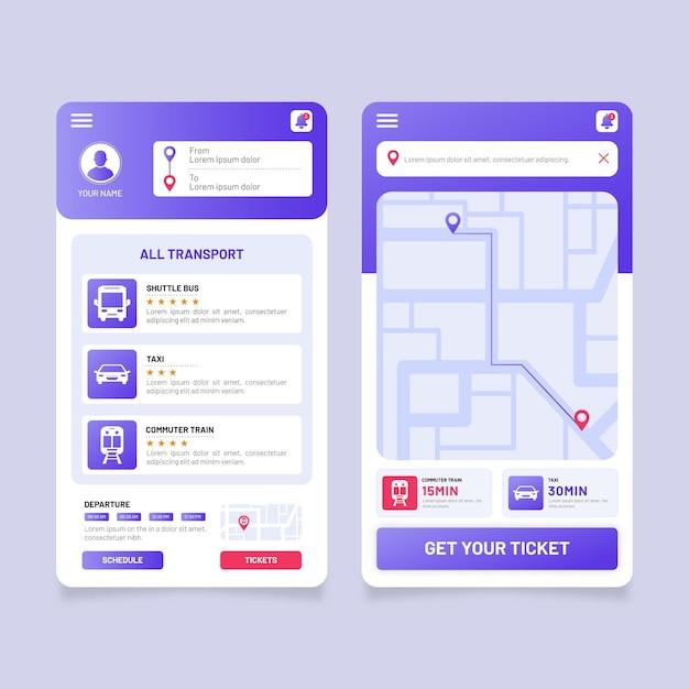 App-vorlage für öffentliche verkehrsmittel Kostenlosen Vektoren