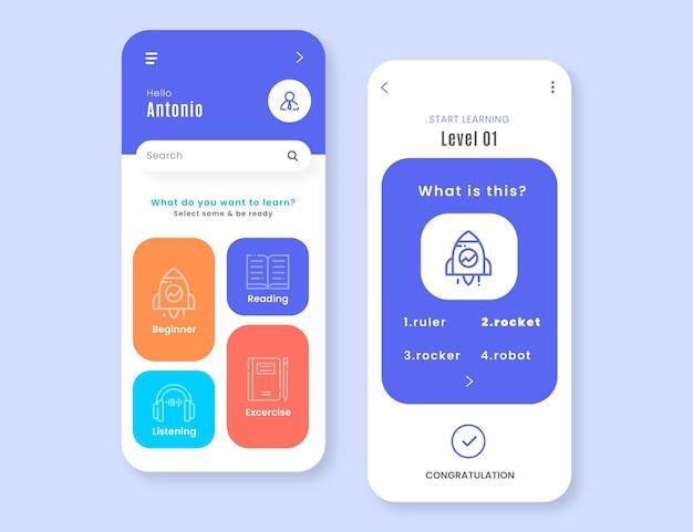 App-vorlage zum erlernen einer neuen sprache Premium Vektoren