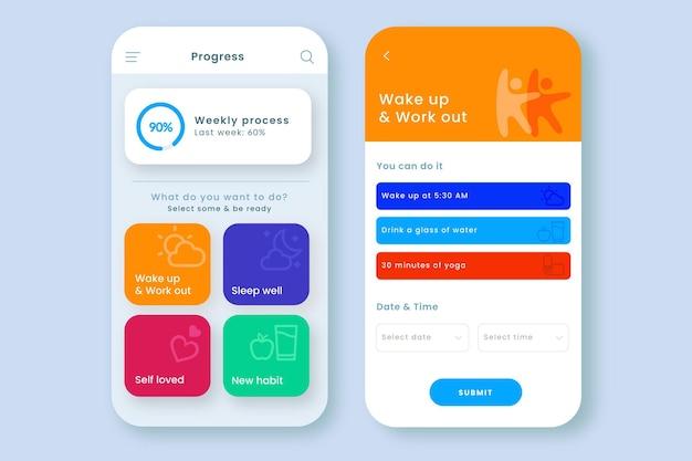 App zur verfolgung von zielen und gewohnheiten Premium Vektoren