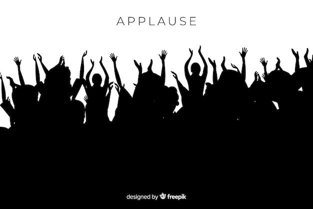 Applaudierendes schattenbild der gruppe von personen Kostenlosen Vektoren