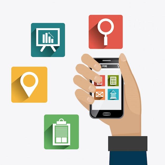 Apps-marktdesign. Premium Vektoren