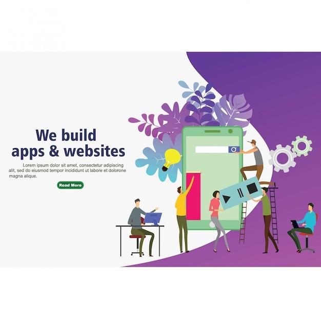 Apps und websites für die website erstellen Premium Vektoren