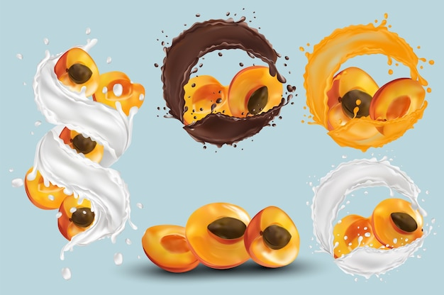 Aprikosensaft, aprikose in schokolade, milchspritzer. sammlung frische aprikose. süßer nachtisch. 3d realistische aprikose. vektorillustration Premium Vektoren