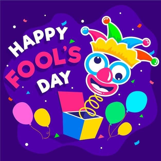 Aprilscherztag mit clown Kostenlosen Vektoren