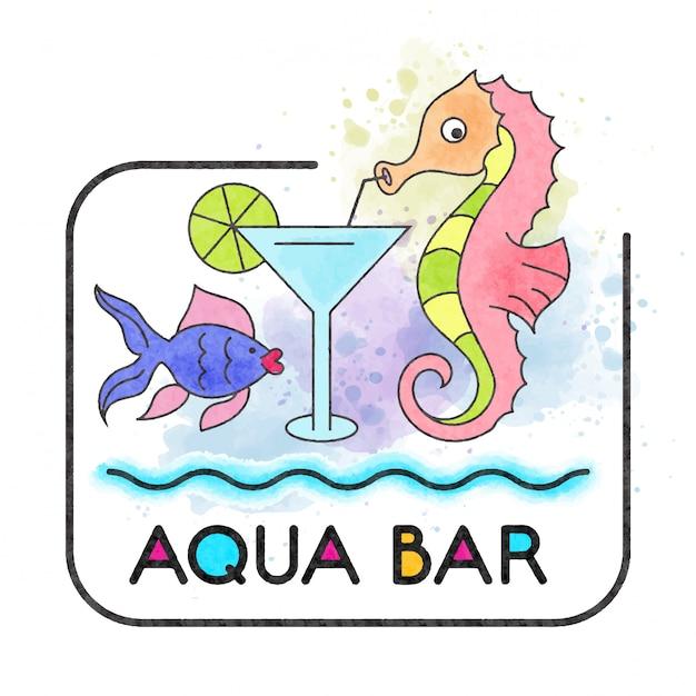 Aqua-bar. aquarell banner mit seepferdchen Premium Vektoren